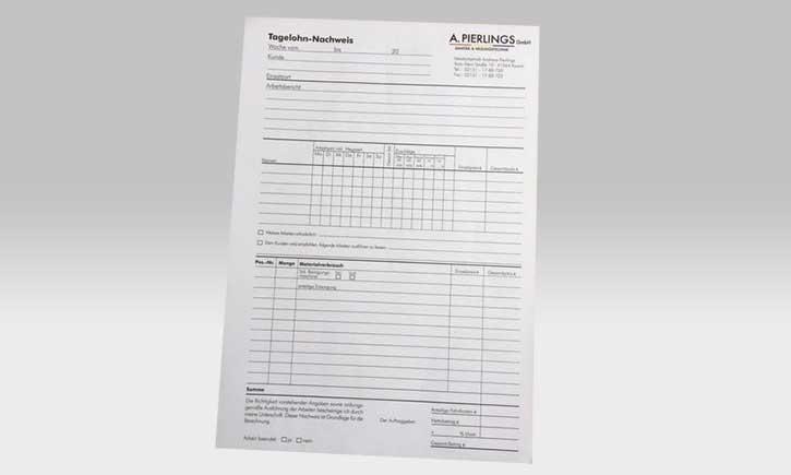 Reinzeichnung und Satz für Formulare